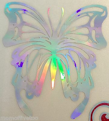 "Silver GLITTER Holographic Butterfly 22.75"" tall 24.5 wide 22-32"