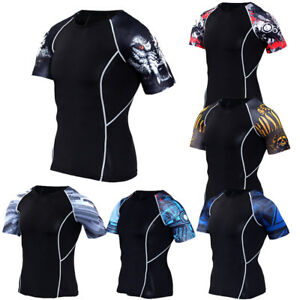 Mens-Workout-Compression-Top-Gym-Fitness-Athletic-Shirts-Spandex-Jersey-Dri-fit