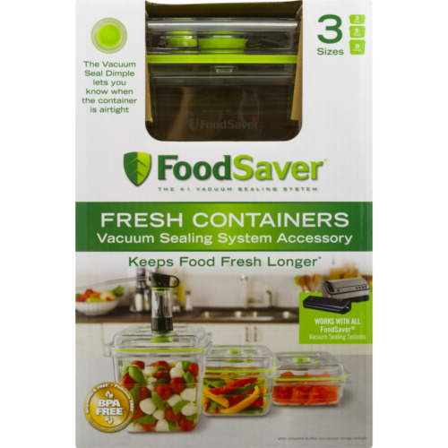 Food Saver Fresh Containers Vacuum Sealing System for Safety Foods 3 Sizes 3 CT