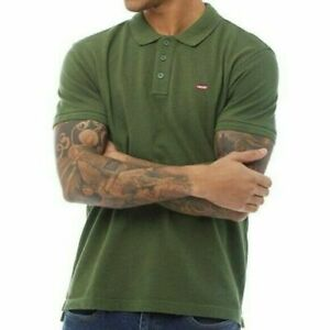 New-Levi-039-s-Men-039-s-Housemark-Short-Sleeve-Polo-Shirt-Forest-Green-Sz-M-L-XL-2XL