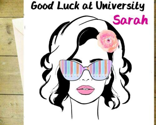 Personnalisé Bonne Chance at University rose fille carte Funky Handmade Glitter