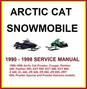 1990 1998 arctic cat zrt ext zr cougar panther snowmobile service rh ebay com 1998 arctic cat panther 550 manual arctic cat 550 panther service manual