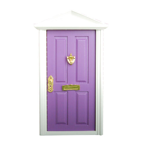 1:12th Purple Painted Wooden Fairy Front Door Doll House Miniature Accessory