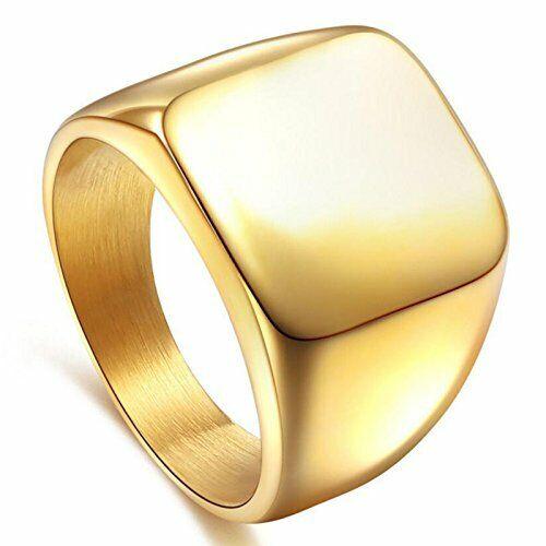 Signet Biker Rings Solid Polished Silver Black Gold Ring for Men Size 7-15.....