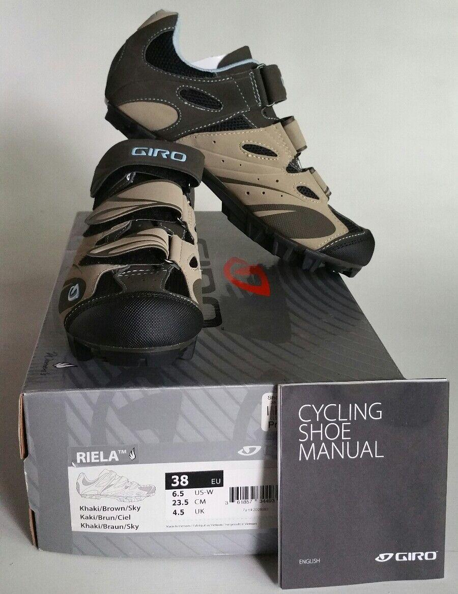 Giro Riela Khaki Brown Sky Women's Cycling Cleat shoes OR 38  NIB