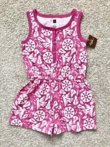 Tea Collection NWT Girls Bright Pink/White Romper sz 5 Kids Summer Clothing