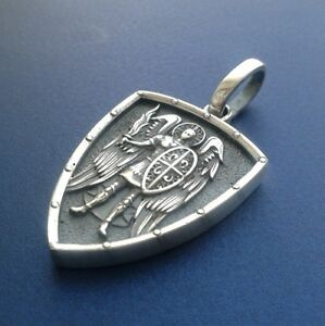 Saint st michael archangel cross shield prayer medal silver pendant image is loading saint st michael archangel cross shield prayer medal aloadofball Image collections