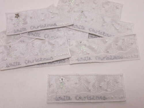 Set of 10 Embroidered Beaded White Christmas Card Making Arts Motifs #25A107
