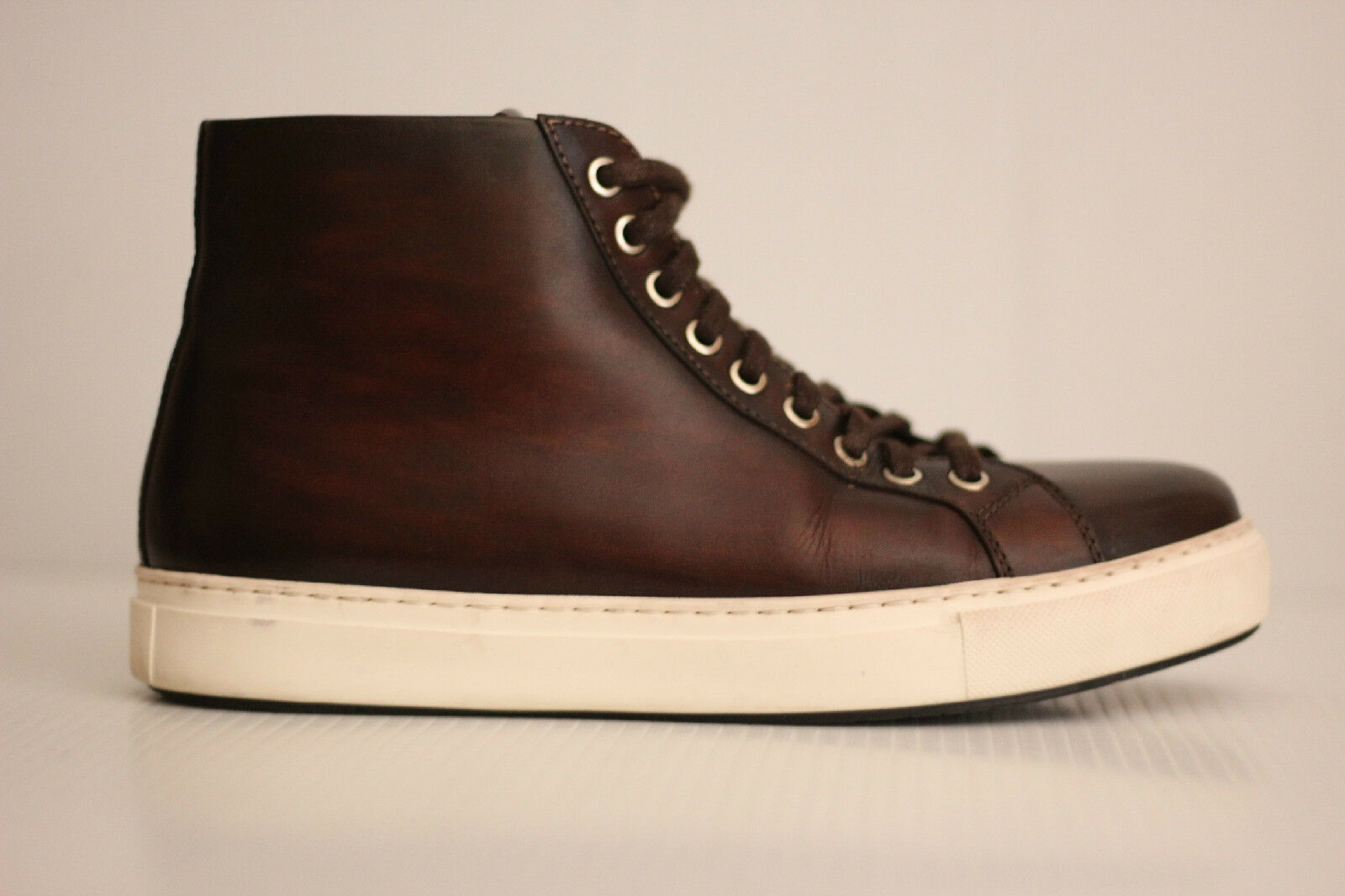 Magnanni 'Brando' High High High Top  Pelle Lace Up - Mid Brown - Size 7.5 (Q13) a4b3b4