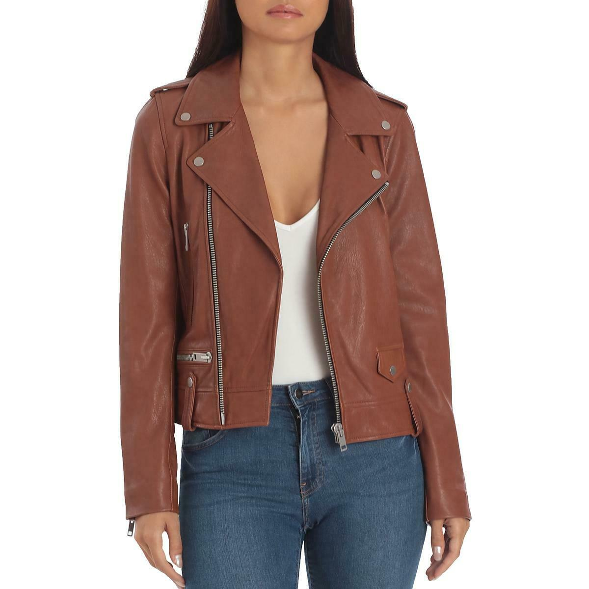 Bagatelle Womens Brown Genuine Leather Fall Motorcycle Jacket Coat M BHFO 1313