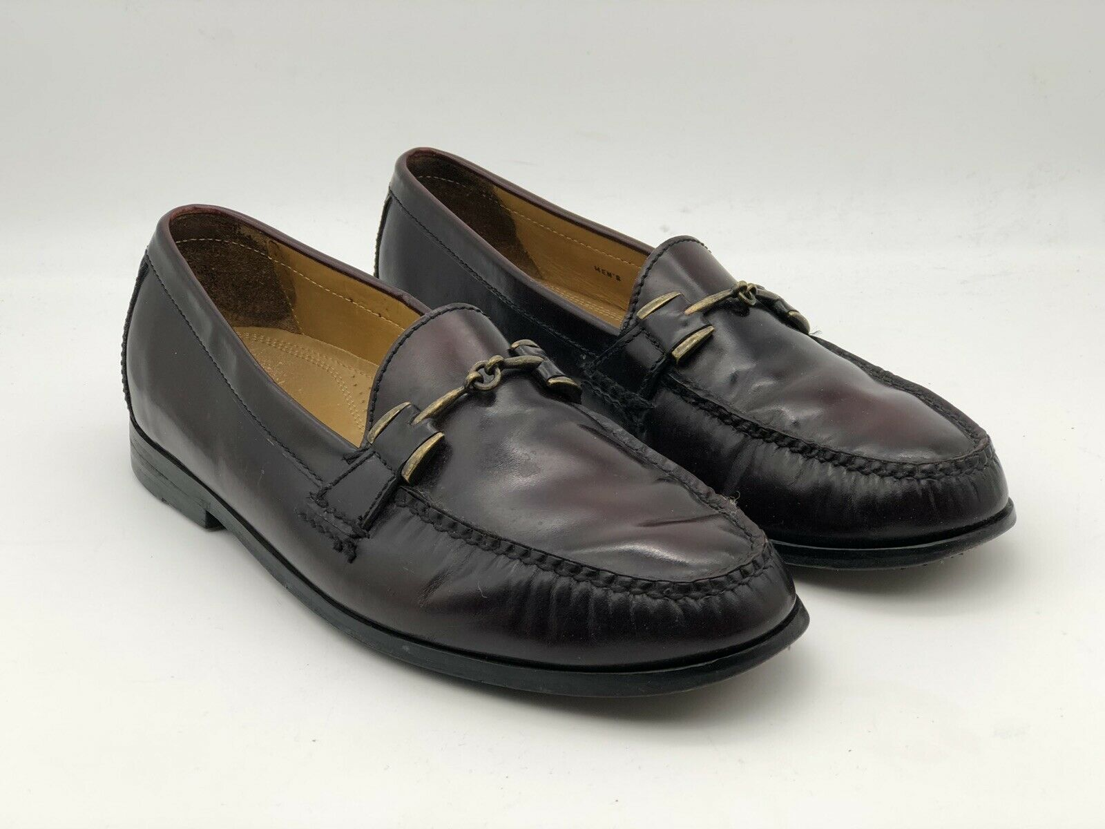 Cole Haan Mens Burgundy Leather Moc Toe Pinch Horsebit Loafers shoes 9.5 M