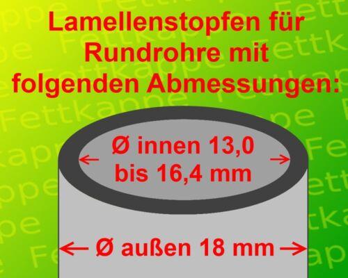 100 Lamellenstopfen Schwarz Ø aussen 18 mm WS 0,8 bis 2,5 mm Rundrohrstopfen