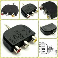 TV Adapter Converter 1 x 3.5 mm Jack 4 Pole Plug To 3 x RCA Female AV out