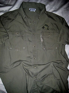Columbia pfg army green embroidered logo fishing vented for Embroidered columbia fishing shirts