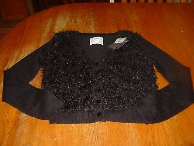 """NWT. """"Meow"""" On Back Justice Black Sparkle Cardigan Sweater Size Girls 10"""