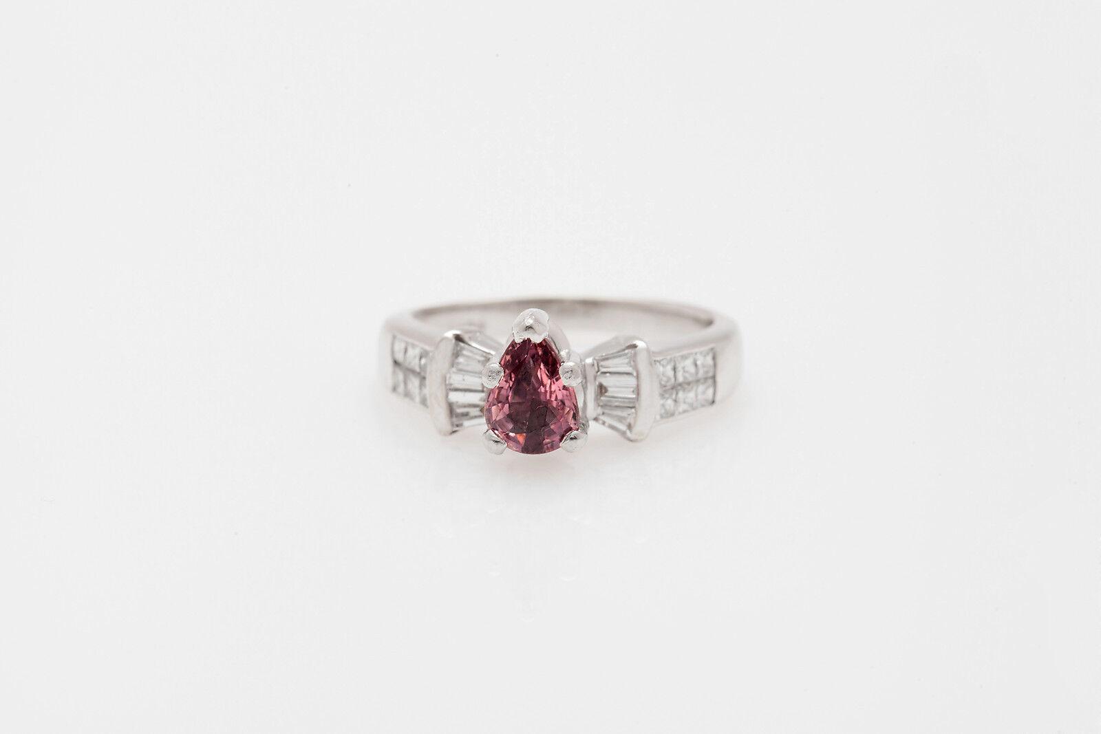 Estate  7000 2ct Natural NO HEAT Pink Sapphire VS G Diamond 18k gold Ring