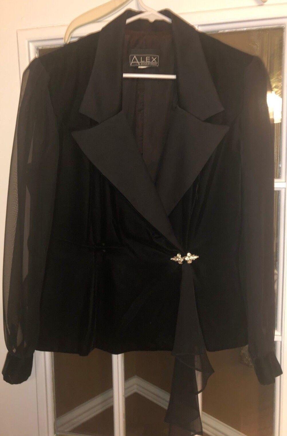 Alex Evenings Elegant Black Velvet Blouse w/Sheer Long Sleeves and Rhinestones