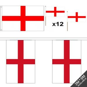 d31193e9a023 ENGLAND FLAG BUNTING HAND FLAGS 2018 WORLD CUP FOOTBALL SUPPORT ...