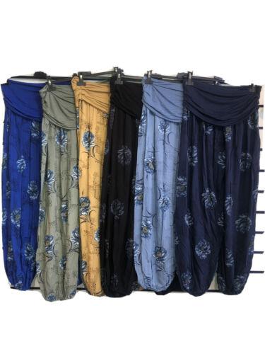 Ladies Italian Floral Lagenlook Harem Boho Yoga Comfortable Summer Trousers Pant