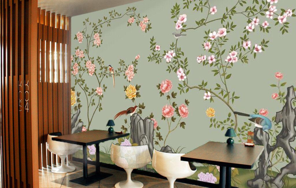3D Stone Bird Flower 8 Wall Paper Murals Wall Print Wall Wallpaper Mural AU Kyra
