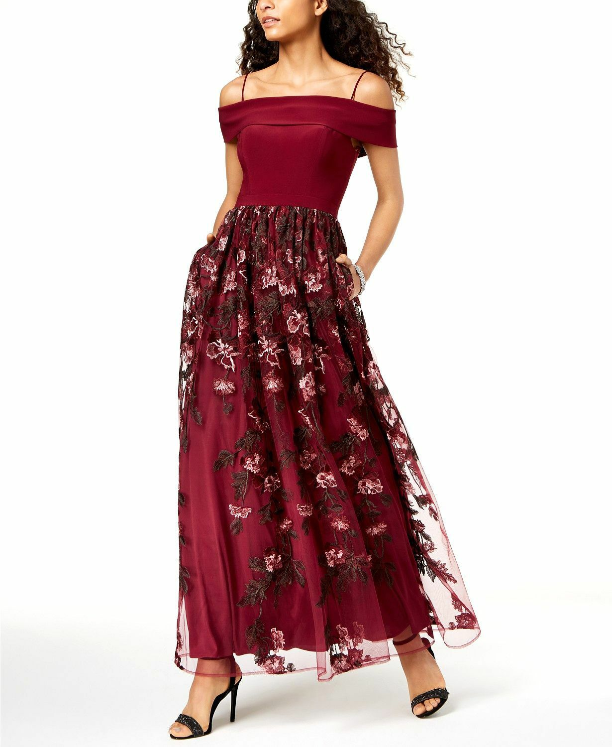 NIGHT WAY WOMEN'S RED FLORAL EMBROIDERED OFF-THE-SHOULDER GOWN DRESS SIZE 8