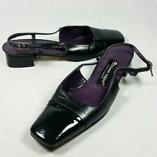 Etienne Aigner Spain Lady Black Leather T Strap Edie Sandals Shoes Size 7.5 M 38