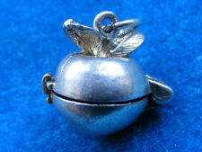 VINTAGE STERLING SILVER CHARM APPLE OPENS TO A WORM
