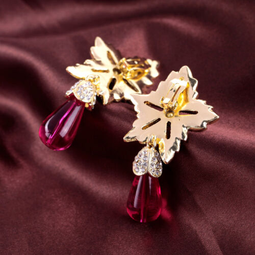 Rings` Ears Clips Big Star Drop Pink Bright Retro Vintage Baroque J2