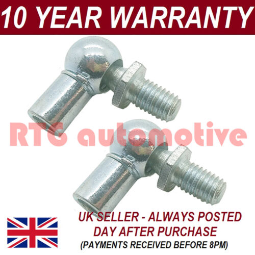 Paire GAS Strut fin accessoires 10 mm Balle Broches Socket Silver Multi Fit GSF65