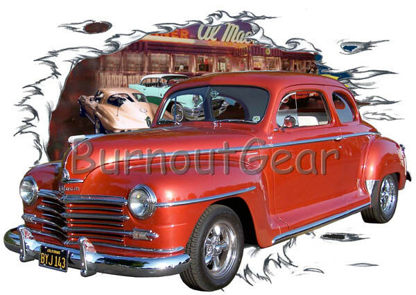 1948 ROT Plymouth Coupe a Custom Hot Rod Diner T-Shirt 48 Muscle Car Tees