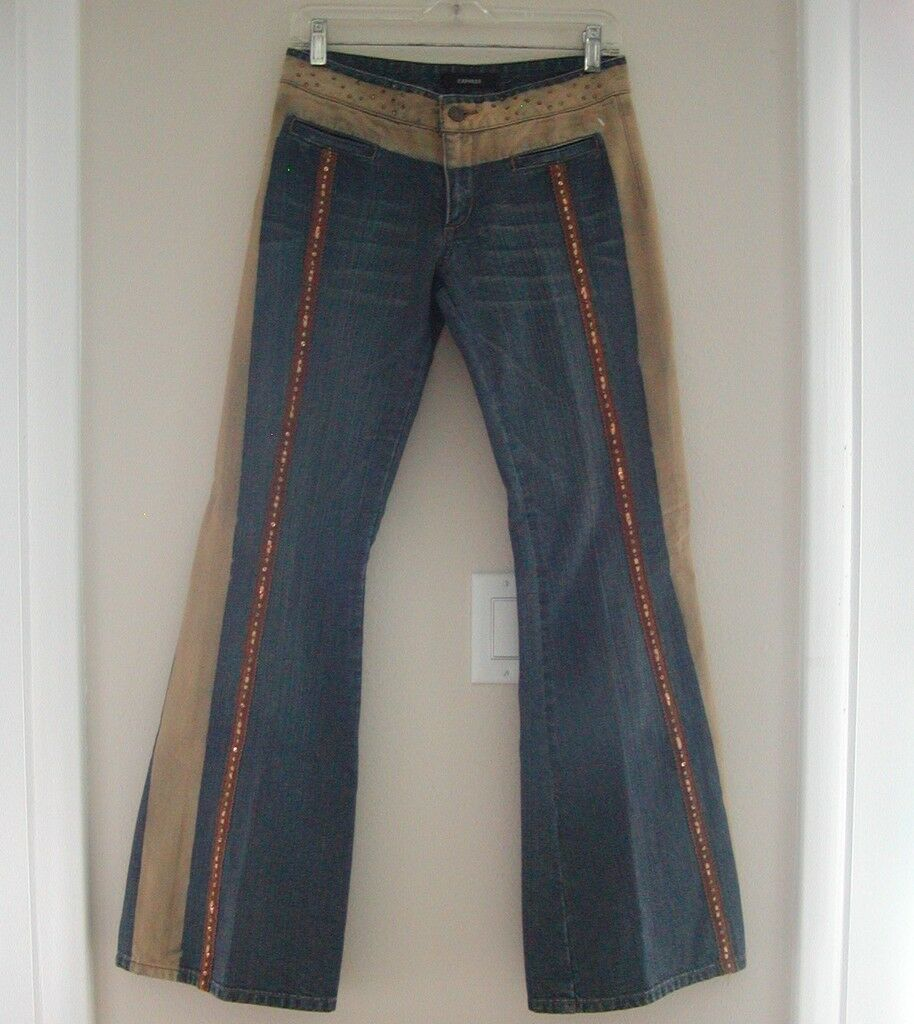 EXPRESS JEANS  blueE BEIGE DENIM  RHINESTONES BEADS SEQUINS sz 3  4  AWESOME