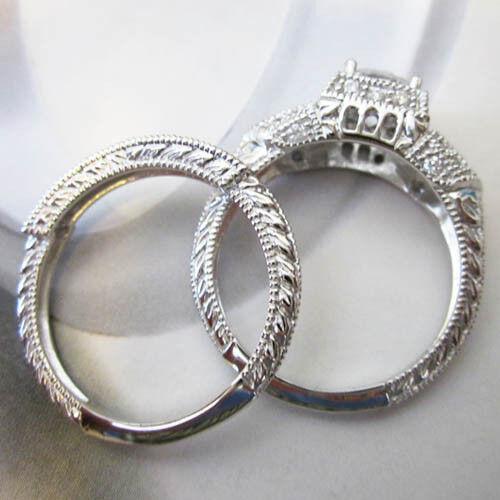Micro Paved Cushion Cut Buagutte Cut 2 Ring Set Silver Platinum Size 5,6,7,8,9