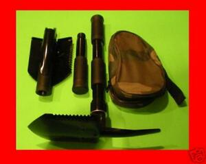 2-Military-Type-FOLDING-SHOVELS-Camp-Tool-Survival-Pick-Case-Camping-Shovel