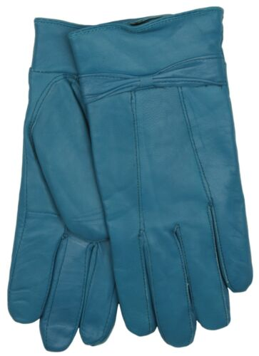 RJM Ladies Lined Sheepskin Leather Gloves With Bow