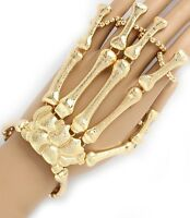 Moving Joints Metal Skeleton Hand Bracelet 5 Finger Ring