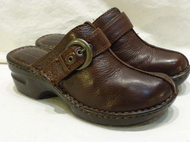 Born Buckle Clogs Mules Braun Leder Comfort Slip On Damenschuhe Schuhes 6M 36.5 125