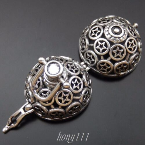 2x Vintage Silver Brass Ball Hollow Round Five Star Locket Harmony Ball 39703
