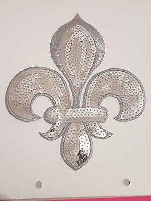 Silver Sequin embroidery patch lace applique motif dress irish dance costume