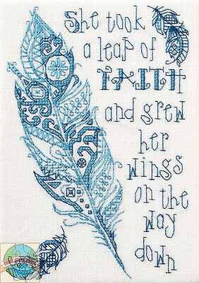 Cross Stitch Mini Kit ~ Plaid-Bucilla Inspirational Leap of Faith Saying #46045