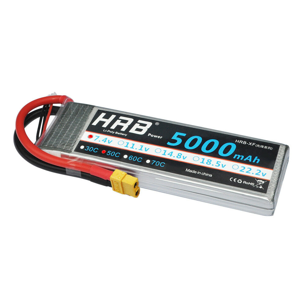 HRB 7.4V 5000mAh 2S LiPo Battery 50C XT60 for RC Evader BX Car FPV Drone Boat
