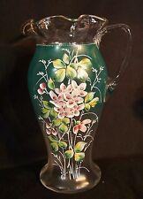 HUGE Antique 19thC Enamel Decorated Glass Pitcher Vase MOSER / Mt JOYE Floral HP
