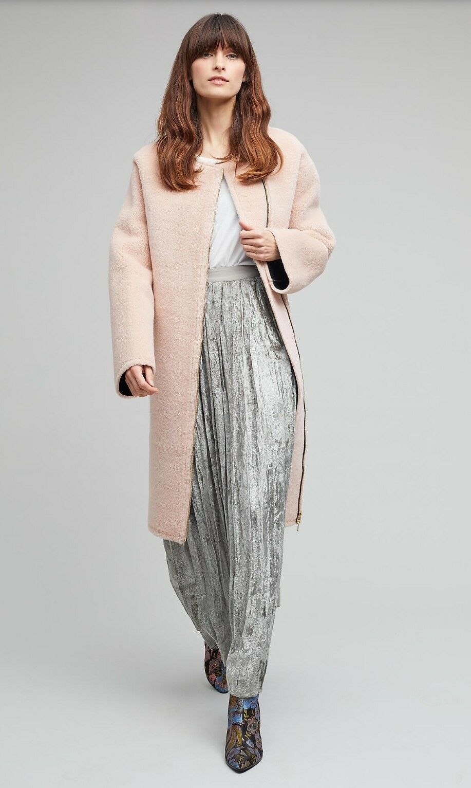 Notes Du Nord Anthropologie Janina Faux Shearling Dawn Coat pink Pink New