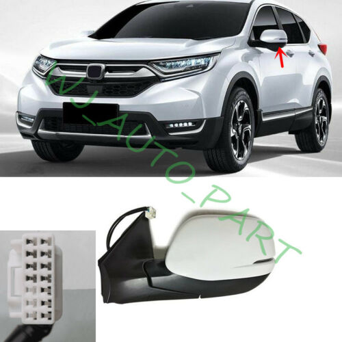 Rearview mirror 8 Pins joint Left Driving side White For Honda CRV 2017-2019