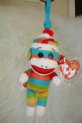 TY BEANIE GREY SOCK MONKEY KEY CLIP MINT WITH MINT TAG VERY HARD TO FIND