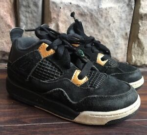 d240d6a27b2c62 Nike Air Jordan Retro 4 Royalty toddler size 10c black metallic gold ...