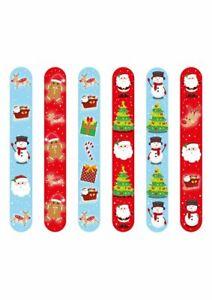 6 Christmas Snap Slap Band Kids Bracelet Xmas Party Bag Fillers Lucky Dip Toys