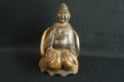 "Other Asian Antiques y8-w7-a8 Great Antique/ Vintage South Asian Carved Wood Sitting Buddha 7"" Antiques"