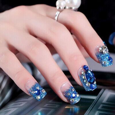 24Pcs blue wdding false nails acrylic UV gel french fake nails art tips  tools_H 889666569300