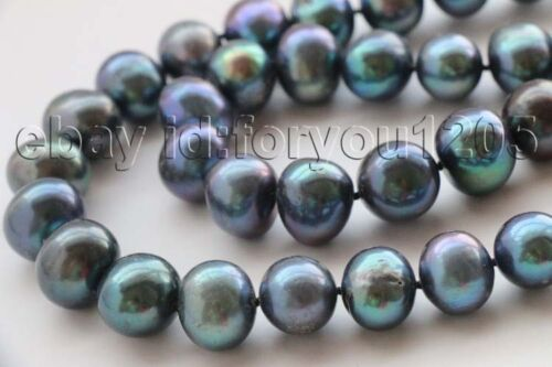 """17-18/"""" Double Natural 12-15mm Black Round Pearl Necklace 9k zircon #f2687!"""