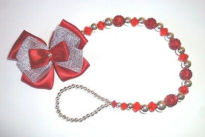 White /& Red Shamballa Bow Crystal Bling Baby Romany dummy Christmas clip chain